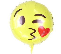 smiling faces decorations UK - 18inch Round Foil Balloon Smile Kiss Face Emoji for Party Children Toys Cute Face Emoji Gift for Wedding Party Decoration