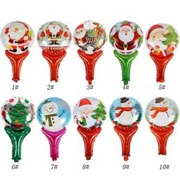 foil stick UK - Christmas Balloon Hand Sticks Cute Cartoon Santa Claus Snowman Aluminum foil balloon Children Gifts Party decoration