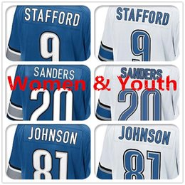 Barato Sander Grossista-Frete Grátis Atacado 2017 New Arrival Women Kids Jerseys 9 Matthew Stafford 20 Barry Sanders 81 Calvins Johnson Youth Top Quality Sewn On