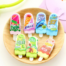 Wholesale Wholesale-2pcs lot novelty Ice Cream rubber eraser kawaii creative kawaii stationery school supplies papelaria gift for kids Free shipping