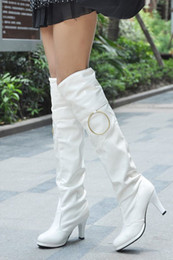 $enCountryForm.capitalKeyWord Canada - wholesaler free shipping factory price hot seller Knee Boots 7cm Heel lifed Thigh-High fashion boots patent leather women boots095