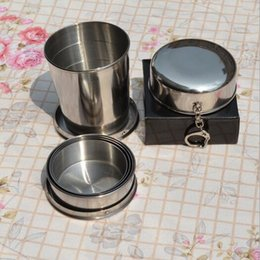 Key Chain Drink Canada - Portable Stainless Steel Folding Drinking Wine Cup Mug for Outdoor Travel Picnic Key Chain Collapsible Telescopic Cup 240ml CCA6382 50pcs