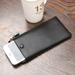 Discount popular notes - New Genuine leather long style super thin zipper wallet lady fshion multi-function phone purse women popular clutch blac