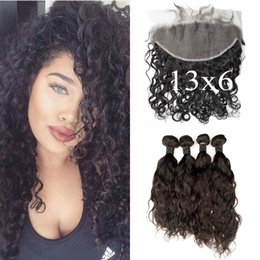 malaysian wavy human hair NZ - 100% Human Hair 13X6 Malaysian Water Wave Lace Frontals With 4 Bundles Wavy Human Hair Extensions LaurieJ Hair