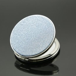Barato Pequenos Espelhos De Metal-Double Faced Folding Small Mirror Cosmetic Portable 7 * 7cm Round Makeup Mirror Espelhos compactos envio rápido F20171269