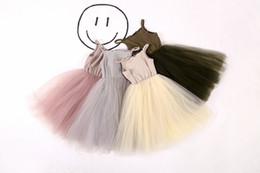 Gauze balls online shopping - 2017 New Knitted Grid Tulle Baby Girls Dress Summer Fashion Solid Colors Knitted Gauze Dress For Years Old Girls Slip Dress