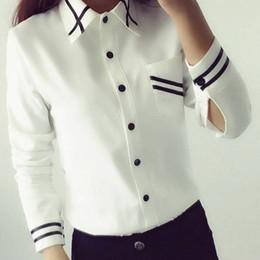 Women Formal White Shirts Australia - Wholesale- Korean Style Women Blouses Fashion 2017 Autumn Long Sleeve Sequin Chiffon Ladies Office Shirt White Blue Tops Formal