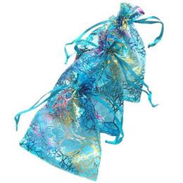 100 шт. синий коралловые органзы ювелирные изделия подарок сумка сумки 7x9cm (2,7 х 3,5 дюйма) шнурок мешок органзы подарок конфеты сумки