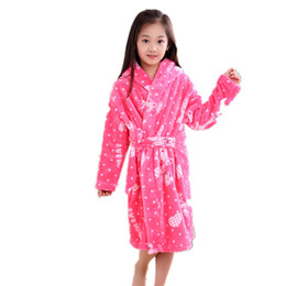 Discount thick bathrobes - Wholesale- 2017 New Fall Winter Flannel Children's Long-sleeved Plus Size Robes Coral Thick Pajamas Boys and Girls
