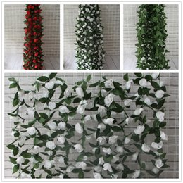 $enCountryForm.capitalKeyWord Canada - Artificial Rose Garland Silk Flower Vine Ivy Home Wedding Garden Decoration red white green leaves 180cm