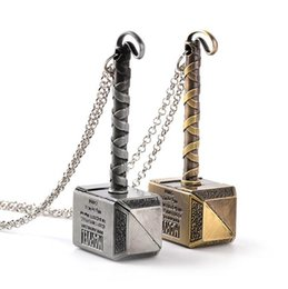 Thor Hammer Pendants Wholesale NZ - The Avengers Alliance Zinc Alloy Big Thor Hammer Pendant Necklace Vintage Silver Bronze Statement Jewelry Movie Accessories for Men Gift