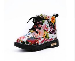 China 2017 New children's floral martin boots boys girls leather Martin boots baby toddler shoes kids fashion boots size21-30 suppliers