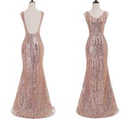 Stunning Evening Dresses Images UK - For Sale Rose Gold Mermaid Prom Dresses Stunning Sequin V Neck Backless Formal Evening Dresses Real Photo Prom Party Dresses 2017 Hot