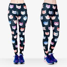 yoga pant pattern free 2019 - Women Leggings Kitten 3D Graphic Print Girl Skinny Stretchy Gym Fitness Yoga Wear Pants Colorful Cat Pattern Sports Capr