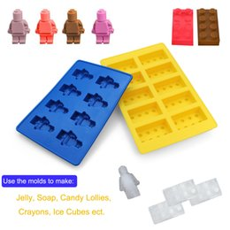 building block mold NZ - Set Of 2 Silicone Robot Ice Cube Tray And Building Block Ice Tray & Candy Mold Set Keep Your Drink Cold For Longer