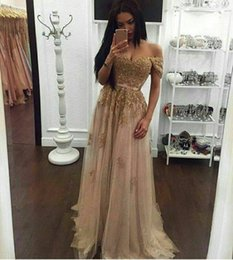 Sweetheart Beaded Evening Tulle Champagne Australia - Sexy Gold Prom Dresses Sweetheart Off The Shoulder Appliques Sequins Beaded Tulle Floor Length Backless Evening Dresses Party Dresses