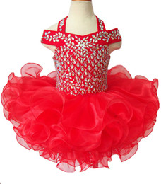 $enCountryForm.capitalKeyWord Canada - Gorgeous Beaded Glitz Girls Natioanl Pageant Cupcake Dresses Infant Tutu Gowns Toddler Baby Girls Halter Ruffled Mini Pageant Dress