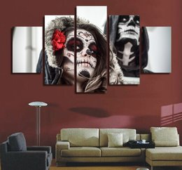 skull figures Canada - Wholesale Modern Abatsrct Skull Woman Canvas Print Painting Living Room Decoration Hot Sales New Style Wall Pictures free shipping Unframed
