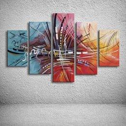 Discount line art wall painting 5 Panel Canvas Art Colorful Oil Painting Modern Abstract Graffiti Acrylic Paintings Home Decor Wall Paper Huge Line Pict