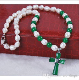 $enCountryForm.capitalKeyWord Canada - 7-8mm Real Natural Rice White Pearl  Green Jade Cross pendant(25X35MM) necklace
