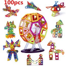 Plastic Blocks For Kids Canada - 100PCS Mini size Magnetic building blocks construction toys for kid Designer magnetic toys Magnet model building toys enlighten