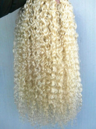 Curl blonde human hair online shopping - brazilian human virgin remy curly hair weft natural curl weaves unprocessed blonde double drawn extensions