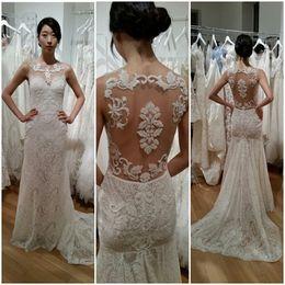 Discount sheath wedding dresses - Latest O-neck Lace Sheath Wedding Dresses Zipper Back Chapel Train Bridal Wedding Gowns Hochzeitskleid Robe De Mariee