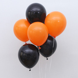 pirates pearl NZ - 100pcs Orange Black Latex Round Balloon Halloween Party Pearl Balloons Anniversary Home Decor 12 inch New