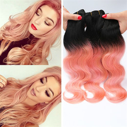$enCountryForm.capitalKeyWord Canada - Hotselling 1B Rose Gold Ombre Indian Virgin Hair Body Wave Two Tone Hair Extensions 3 Bundles Ombre Human Hair Weaves