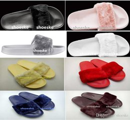 $enCountryForm.capitalKeyWord NZ - Nice Pop Fenty Fluffy Slippers Leadcat Women Casual Shoes Sandals Rihanna Eight Color Pink Black And White Gray Red Slippers