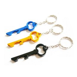 Beer Keychains UK - Free Customized Engraved Logo Bottle Opener Keychains Key Shaped Aluminum Beer Opener Keyring Free Shipping ZA3819