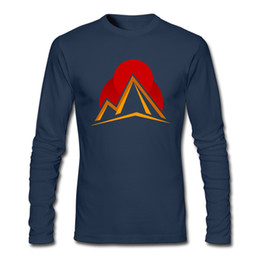 mountain tees NZ - New notion simple design top for men o-collar mens long sleeve tees pure cotton soft wear formal shirts abstract mountain sunset