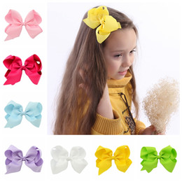 Barato Fitas De Arco De Cabelo Atacado-588 Atacado 15pcs / lot Girls 6 polegadas Ribbon Arcos com Clip Grosgrain Lovely Hairclips Girls Hair Accessories