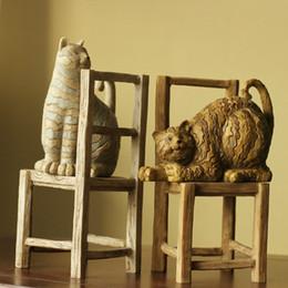 $enCountryForm.capitalKeyWord Canada - Creative Living Room Ancient Bookends Vintage Home Decor Cat Art Resin Crafts Garden Decoration 1set