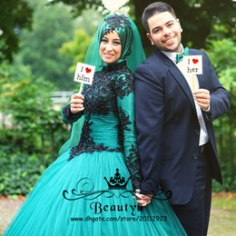 Robes De Mariage Islamiques Plus Taille Pas Cher-2K17 Green Islamic Hijab Robes de mariée 2017 Custom Plus Size Beads Black Lace Ball Gowns Long Sleeve Tulle Arab Muslim Party Dress