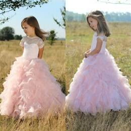 ruffle princess wedding dress Australia - Blush Pink Lace Tulle Ball Gown Flower Girl Dresses For Wedding Birthday Pageant 2017 Short Sleeve Cut Out Back Lace Up Ruffle EN7134