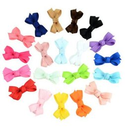 Korea Child Hair Canada - 20 colors Children bowknot hairpin Korean girls hair ornaments solid color side clip jewelry Japan and South Korea card 737