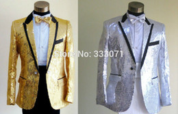 Robe De Sequin Rouge En Gros Pas Cher-Vente en gros - Custom Made Slim Fit Sequins Groom Tuxedos Blanc Noir Or Red Groomsmen 2015 Hommes Mariage Costumes Veste + Pantalons + Bow Tie
