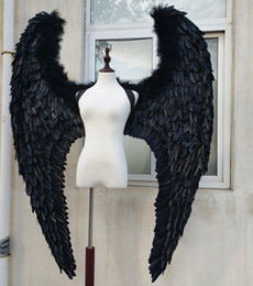 $enCountryForm.capitalKeyWord NZ - Adult's big black Devil feather wings for Model stage show catwalk Displays shooting props Fashion accessories Pure handmade
