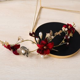 Barato Ornamento Da Flor Do Cabelo Nupcial-Vintage Gold Color Headband Butterfly Flower Hairband Ornaments Bridal Wedding Headpiece Hair Jóias Mulheres Party Headdress Gift