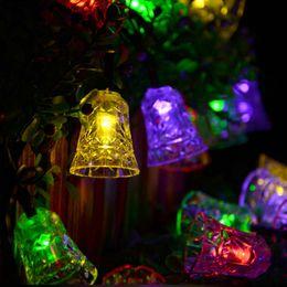 wholesale solar lamps 25ft 40leds jingle bell shape decoration string lights fairy waterproof garden outdoor christmas led solar light - Christmas Lights Online
