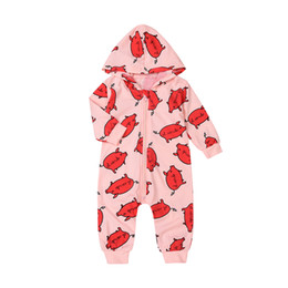 Barato Roupas De Joalheria Grossistas-2017 Baby Fashion Fall Winter Rompers Kids manga comprida Pink Zipper Hat Romper Red Pig Printed Toddler Algodão Hot Clothes Cute Suit Wholesale