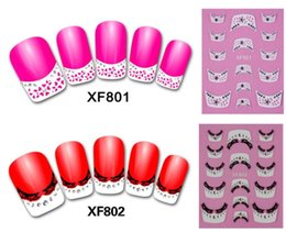 Design Autocollant En Dentelle Pas Cher-Nail Art Stickers Decal 3D White French Tips Manicure Black Lace Bling Clear Crystal Design Foils Stamping Tools