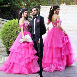 backless prom dress patterns Canada - Wholesale - Off The Shoulder Hot Pink Crystal Prom Dresses Backless Tiered Ruffles Beaded Evening Gowns Tulle Beautiful Formal Party Dress