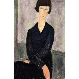 bedroom painting portraits Australia - abstract Portrait paintings by Amedeo Modigliani The Black Dress girls art for bedroom decor high quality