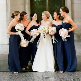 Black feathered Bridesmaid dresses online shopping - Cheap Navy Blue Bridesmaid Dresses Floor Length Sweetheart Wedding Guest Dress Formal Maid Of Honor Gowns
