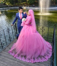 Wholesale Pink Arabic Long Sleeves Wedding Dresses Lace Muslim High Neck New Ball Gown Bridal Gown With Hijab