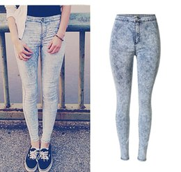 Barato Leggings Quentes Meninas Azul-2017 Hot Selling Womens Blue Stretch Skinny alta Waisted Jeans Slim Denim Leggings Moda Meninas de alta qualidade Melhor Jeggings
