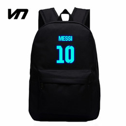 Barato Presentes Do Saco De Escola Do Aniversário-Atacado VN Brand Messi Bag 10 # Night Luminous Mochilas Messi Fan Bag Star Backpack School Bag Para Adolescentes Melhor Presente de aniversário para crianças