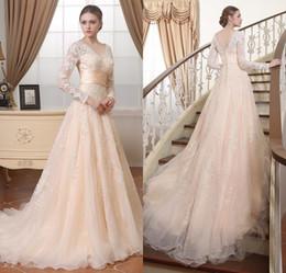 Vintage Beige Lace Organza Long Sleeves Modest Wedding Dresses 2017 Full Buttons Back Vestidos De Novia Real Custom Made